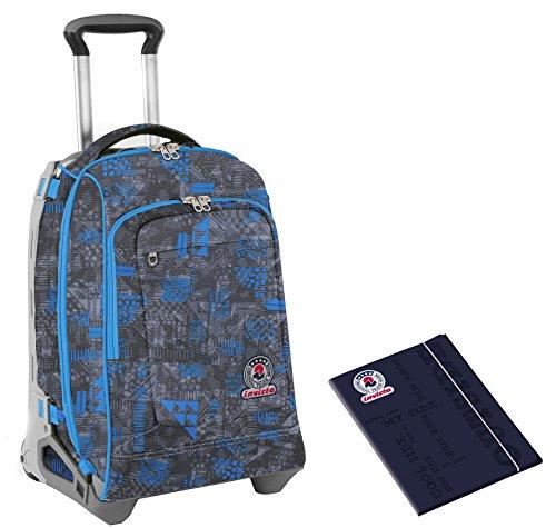 Trolley invicta tech + cartellina a4 - triangle - blu nero - zaino sganciabile - 34 lt scuola e viaggio