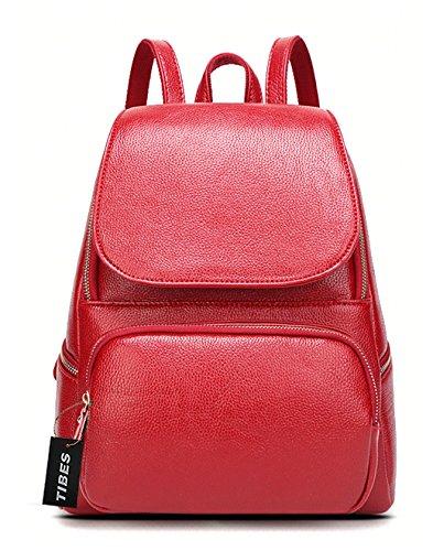 Tibes de haute qualité pu sac à dos en cuir petit sac à main sac à dos Vin rouge