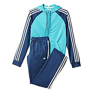 adidas Damen Trainingsanzug New Young Knit, Blau/Türkis/Weiß, XS/S, 4055343832999