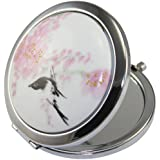 Kolight Chinese Landscape Flower Bird Double Sides (One Is Normal,Another Is Magnifying)Portable Foldable Pocket Metal Makeup Compact Mirror Woman Cosmetic Mirror (Flower+Black Bird)