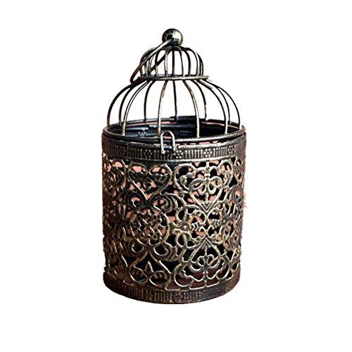 Dylandy Candelabro portavelas metal forma jaula pájaros