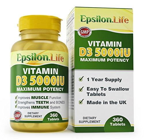 Vitamine D3 5000 UI - 360 gélules - La Vitamine D la plus pure et la plus puissante - Pour renforcer le système immunitaire et les os - Existe en plusieurs formats