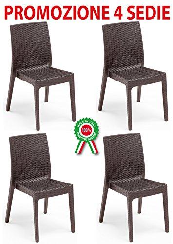 4 Pz Poltrona sedia Selene in dura resina di plastica ...