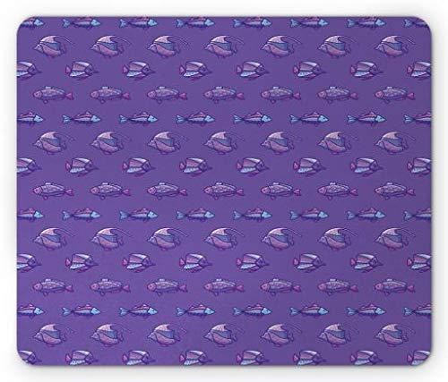 BAOQIN Mouse Pad,Fish Mouse Pad, Ocean Exotic Underwater Creatures Swimming Sea Adventure Pastel Marine Cartoon, Standard Size Rectangle Non-Slip Rubber Mousepad, Violet Pale Blue