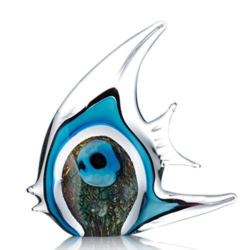 Tooarts Moderne Skulptur Glasskulptur Designer Skulptur Deko Skulptur Tier Skulptur aus Glas Blaue Streifen Tropische Fische