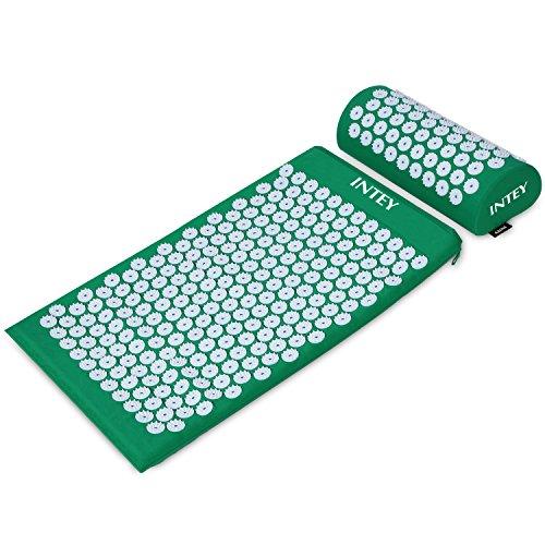 INTEY Akupressur-Set Akupressurmatte zur wohltuenden Entspannung, Akupressurkissen zur Erleichterung der Kopf-Nackenschmerzen mit einer Tragtasche für Männer und Frauen, Grün/Lila