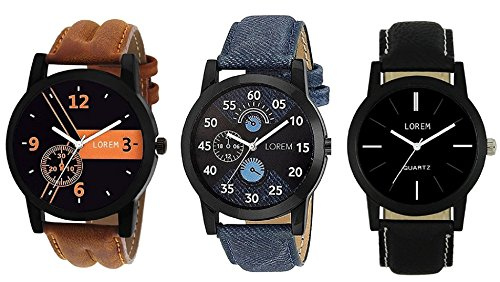 Mishva Analog Multi-color Dial Leather Strap Wrist Pack of 3