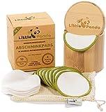 Little Panda waschbare Abschminkpads aus Bambus & Bio-Baumwolle   14 wiederverwendbare Wattepads Bambus-Pads   nachhaltige Baumwollpads Make Up Pads inkl. hochwertige Bamboo Aufbewahrungsbox & Beutel