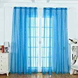 Webla - Ty0004 1Pc Blackout Curtain Voilage Pure Valance Panel Drape Pattern 'Star Protection Against Daylight Window Decoration Dormitorio/Sala de Estar/Balcón Lxh/100X200Cm