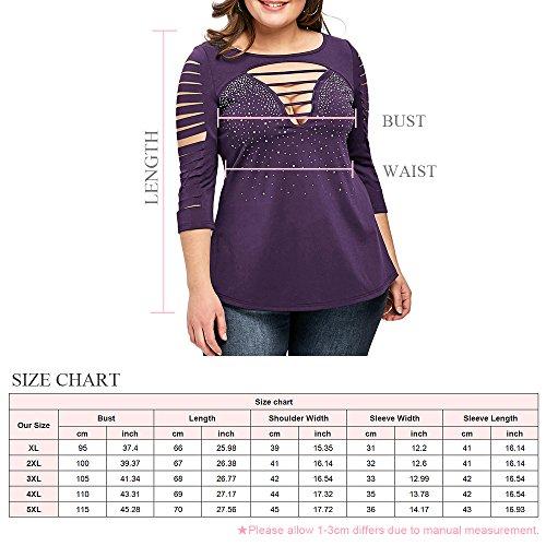 CharMma Damen Oberteil Übergröße 3/4 Arm Ladder Shredding T-Shirt Violett