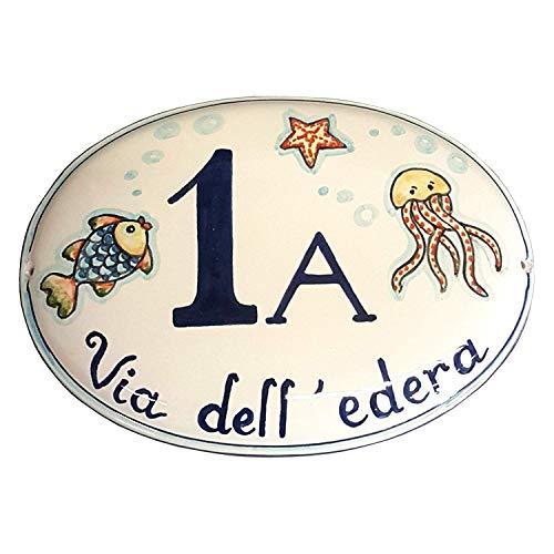 Ceramiche d'arte parrini- ceramica italiana artistica numero civico in ceramica 19x12 personalizzato decorazione mare targhetta fatta a mano made in italy toscana