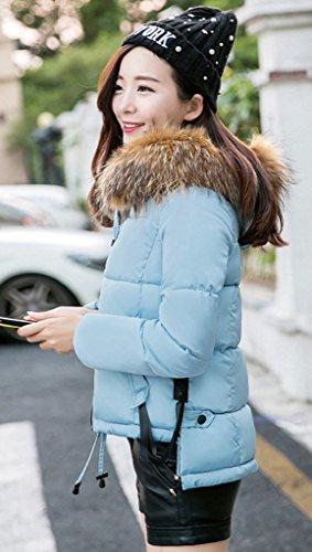 Smile YKK Manteau Slim Femme Blouson Court Hiver Veste à Capuche Fausse Fourrure Matelassé Elégant Bleu