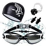 HICYCT set per il nuoto con occhialini, clip per il naso, tappi per le orecchie, custodia, di alta qualità, occhialini con tappi per le orecchie, antiappannamento, protezione UV.(black)