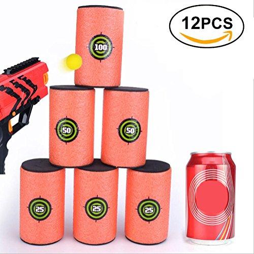 Yosoo 12Pcs Bersagli Pallottola Pistola del Giocattolo dei Bambini di Eva Morbidi di Grandi Dimensioni Lattine Schiuma Tiro a Bersaglio Pistole Nerf N-Strike Elite Series Toy Gun (Grande * 12)
