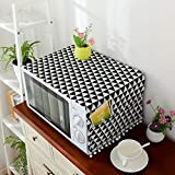 Topinon Microwave Oven Cover with Pocket (Black)-85 x 35 cm