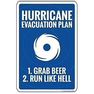 ymot101 Metallschilder Hurricane Evakuation Plan Vintage Warnschild Blechschild Wandschild 20 x 12 cm