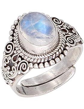 Luna Azure Sterling Silber Mondstein Edelstein Verstellbar Ring
