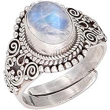 Anillo de plata de ley con piedras preciosas y piedra lunar, ajustable, estilo retro