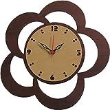 Floral Designer Wood Wall Clock (Brown, ...