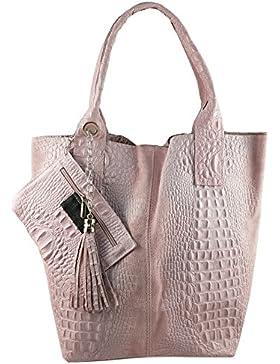 Damen Echtleder Shopper mit Schmucktasche in vielen Farben Schultertasche Henkeltasche Handtasche Metallic look