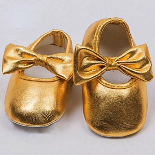 Jungen Weiche Rutschfest Hunpta Sohle Lauflernschuhe Gold Schuhe Baby Gold Prewalker Bowknot Neue 12 5Bqnq0HX