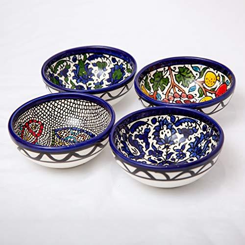 Juego de 4 cuencos de cerámica hechos a mano, aptos para lavavajillas, microondas, diseños tradicionales antiguos, 8,5 cm de diámetro Juego 4