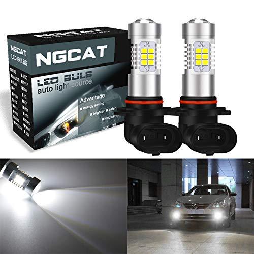 2 bombillas LED para coche de Ngcat 9005, 9145, 9140, HB3, 16 V 5W, DRL, reemplazo de faros antiniebla 2835-21 con lentes de proyección nocturna, de color blanco xenon (10-16 V, 10,5 W)
