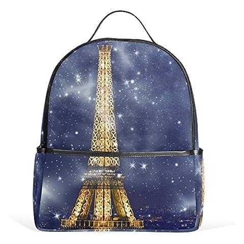 JSTEL Kids Backpack Children's Day Gift Eiffel Tower Sky Stars School Backpacks for Boys Girls Bookbags Travel Laptop Bags