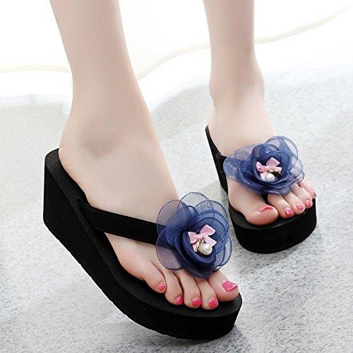 Hausschuhe Einfache und elegante Dame Flip Flops,Frauen aus Sommer tragen dicke unten Strandschuhe,Koreanische Version zuziehen Füße,high-heeled Hausschuhe,38,Schwarz-rot