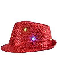 Wuiyepo Sequin chapeau LED Light Jazz Unisex Cap Fancy Dress