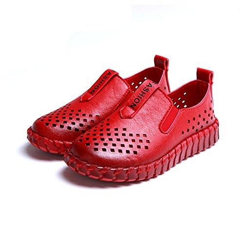 Eagsouni® Chaussure de respirante Bateau Mocassin Enfants Fille Garçon Plat Similicuir Oxford Rouge