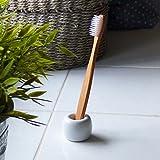 elbfjord Zahnbürstenhalter Keramik - Schöner Zahnbürstenständer in skandinavischem Design - Der ganz besondere Zahnputzbecher - Ideal auch als Pinselhalter und Stiftehalter (1)