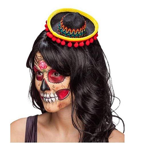 Sombrero Kostüm - Minihut Sombrero schwarz-bunt mit Haarreif Kostüm Zubehör Mexikanerin Fasching
