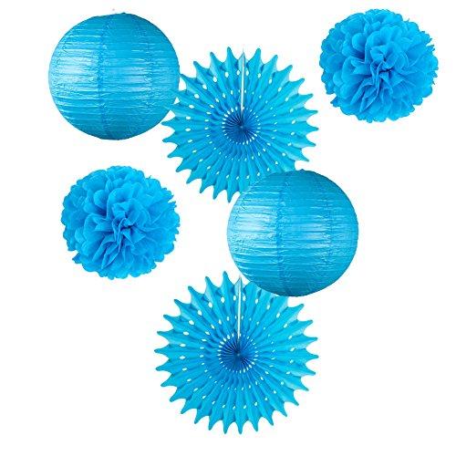 6er Set Papier Laternen Pom Poms Blau Rosetten Party Deko (Royal Blue) (Hängen Royal Blau)
