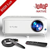 Beamer 1080P Full HD Native, 4000 Lumen Video Projektor +70% Helligkeit 50,000 Stunden LED LCD Heimkino Beamer unterstützt HDMI VGA Y.Pb.Pr AV USB Geräte, Office,Fußballspiele,Filme
