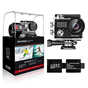 AKASO Action Kamera Brave 4 4K 20MP WiFi Action Cam Ultra HD mit Bildstabilisierung Bild Zoom 30m Unterwasserkamera mit Fernbedienung 2 Akkus und Zubehör Kit