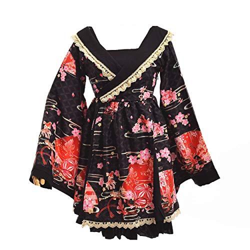 Japanischen Stil Kimono Bademantel Kleid Anime Cosplay YUKATA Serie Japanischen Sommer Nette Mädchen Anime Cosplay Kostüme (Schwarz, M) (Mädchen Kind Anime)