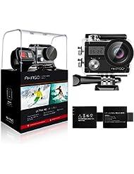 AKASO Action Cam 4K WiFi Angolo Variabile Doppio Schermo 5 Volte Zoom Telecomando Caricabatterie con 2 Batterie Fotocamera Subacquea 30m, Accessori multipli per Bicicletta Casco Sport (Brave4)