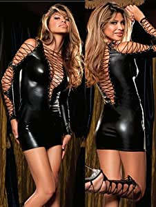 Black Pvc Vinyl Sexy Ladies Mini Dress Lace Up Front-Back-Sleeves