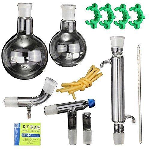 New Lab ätherisches Öl Dampf Destillation Organische Chemie Apparat Glaswaren Kit Wasser Brenner Luftreiniger W/24/40Gelenk -