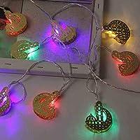 Ramadan Eid luces decorativas 10 LED funciona con pilas, guirnalda de luces fácil de transportar para decoración del hogar, festival, fiesta, Multicolor, extra-small