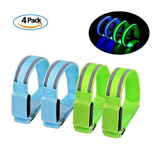 Reflektierende Sicherheits Armband leuchte LED Sports Armband Reflektor Leuchtband-laufen joggen Fahrrad,Leuchte band für Kinder und Erwachsene hohe Sichtbarkeit für Outdoor Joggen,Wandern oder Laufen