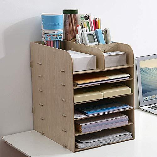 ZHAS Desktop-Aufbewahrungsbox aus Holz Einfache Office Shelf Folder Aufbewahrungsbox (4 Farben, 3 Stile) Desktop-Bücherregal (Farbe: Khaki 3) -
