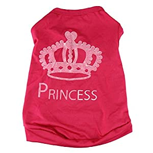 FEITONG Pet Fashion Cat Dog T-shirt Mignon Princesse Vêtements Vest été Costumes Puppy Coat (L, Rouge)