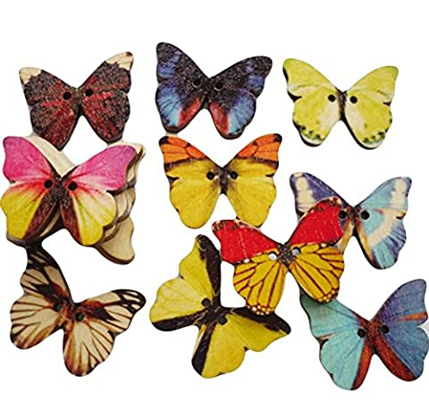 Da.Wa 100PCS Boutons 2 trous Couleurs mélangées Plaine Bricolage Papillons