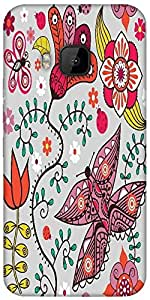 Snoogg Seamless Pattern With Butterflies And Flowers Designer Protective Back Case Cover For HTC M9