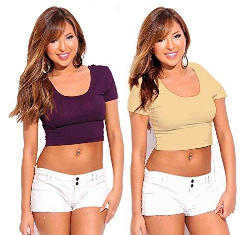 Fashion Line Cotton Lycra Crop Tshirt for Girls/Women (Purple & Beige, Pack of 2)