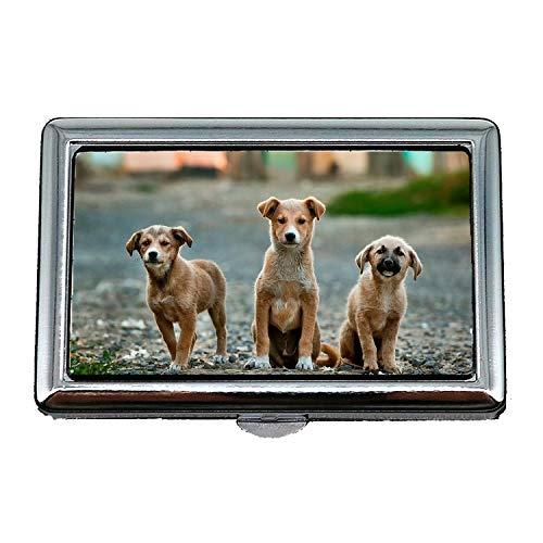 Zigarettenetui/Box, Hunde Welpen Haustier Tier Cute Canine Adorable, Visitenkartenetui Visitenkartenetui Edelstahl