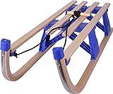 Almwerk Holz-Schlitten Rodel klappbar aus Holz, Farbe:Blau