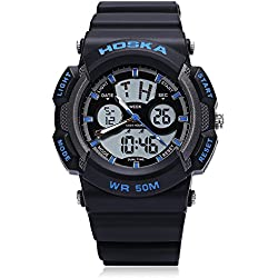 Leopard Shop HOSKA H004B Multifunctional Sport Watch Digital Quartz Children Wristwatch Chronograph Calendar Alarm EL Backlight 50M Water Resistance Blue Black